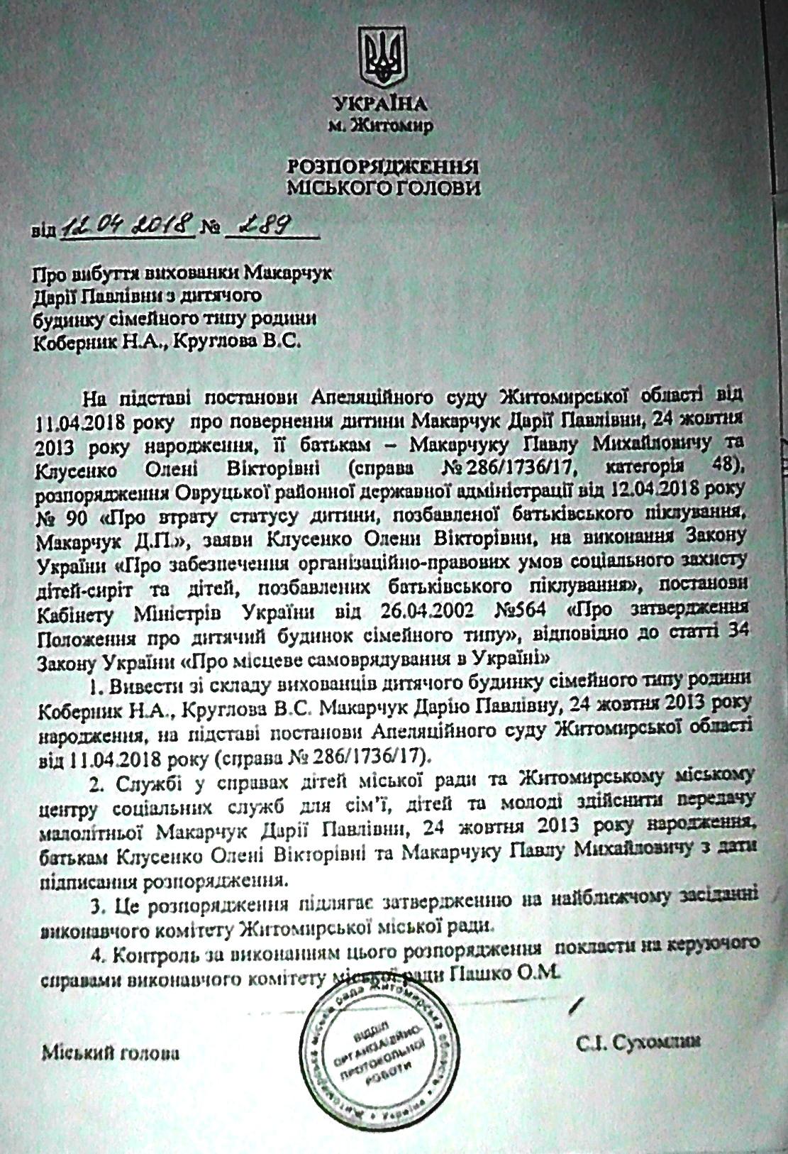 Розпорядження міського голови Сухомлина Сергія